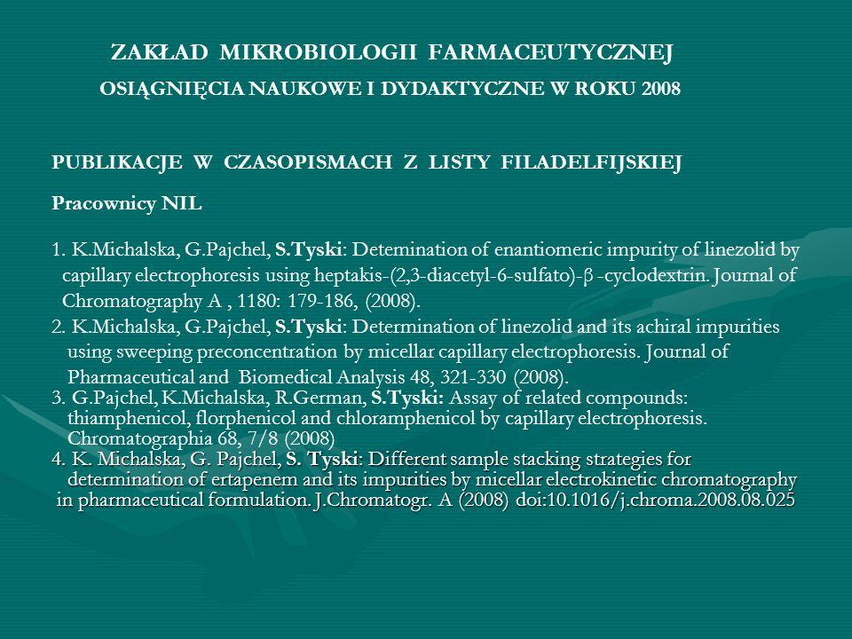 PUBLIKACJE W CZASOPISMACH Z LISTY FILADELFIJSKIEJ Pracownicy NIL 1. K.Michalska, G.Pajchel, S.Tyski: Detemination of enantiomeric impurity of linezoli