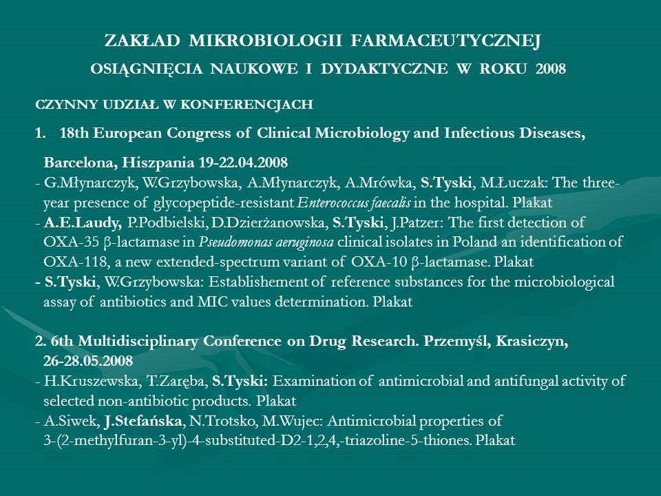 ZAKŁAD MIKROBIOLOGII FARMACEUTYCZNEJ CZYNNY UDZIAŁ W KONFERENCJACH 1.18th European Congress of Clinical Microbiology and Infectious Diseases, Barcelon