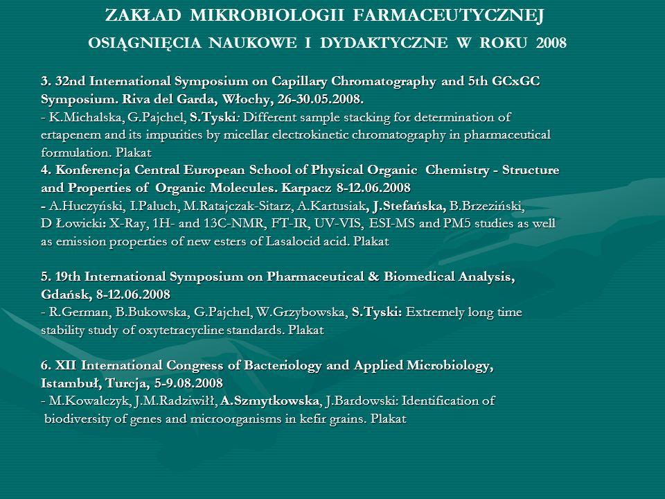 ZAKŁAD MIKROBIOLOGII FARMACEUTYCZNEJ 3. 32nd International Symposium on Capillary Chromatography and 5th GCxGC Symposium. Riva del Garda, Włochy, 26-3