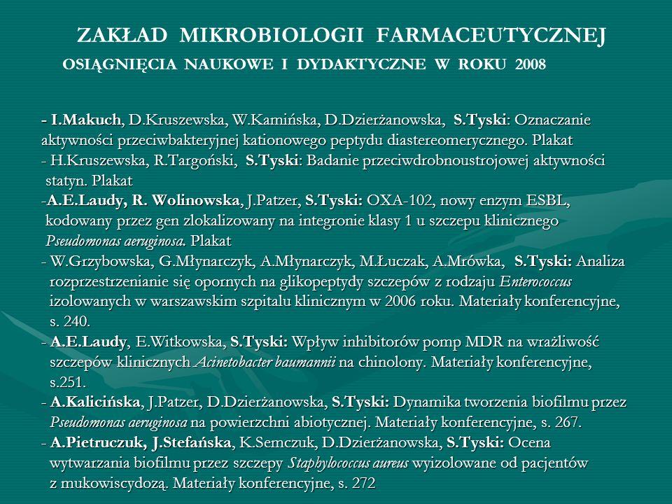 ZAKŁAD MIKROBIOLOGII FARMACEUTYCZNEJ - I.Makuch, D.Kruszewska, W.Kamińska, D.Dzierżanowska, S.Tyski: Oznaczanie aktywności przeciwbakteryjnej kationow