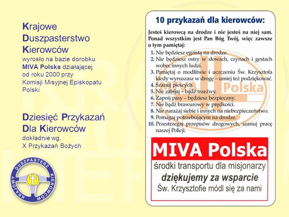 Krajowe Duszpasterstwo Kierowców wyrosło na bazie dorobku MIVA Polska działającej od roku 2000 przy Komisji Misyjnej Episkopatu Polski Dziesięć Przyka