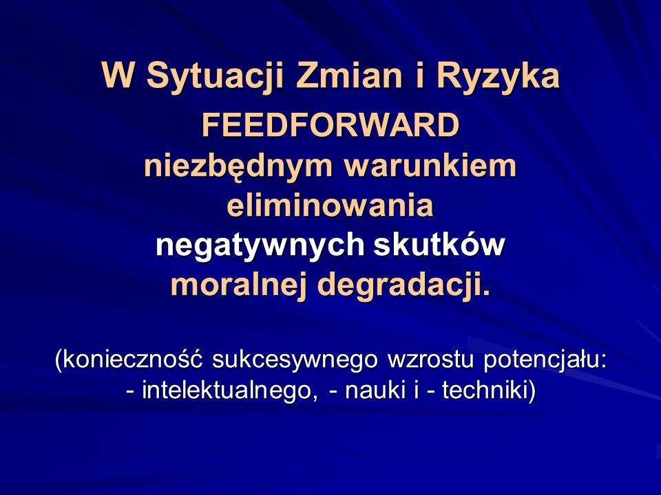W Sytuacji Zmian i Ryzyka FEEDFORWARD niezbędnym warunkiem eliminowania negatywnych skutków moralnej degradacji. (konieczność sukcesywnego wzrostu pot