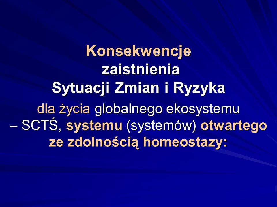 Konsekwencje zaistnienia Sytuacji Zmian i Ryzyka dla życia globalnego ekosystemu – SCTŚ, systemu (systemów) otwartego ze zdolnością homeostazy: