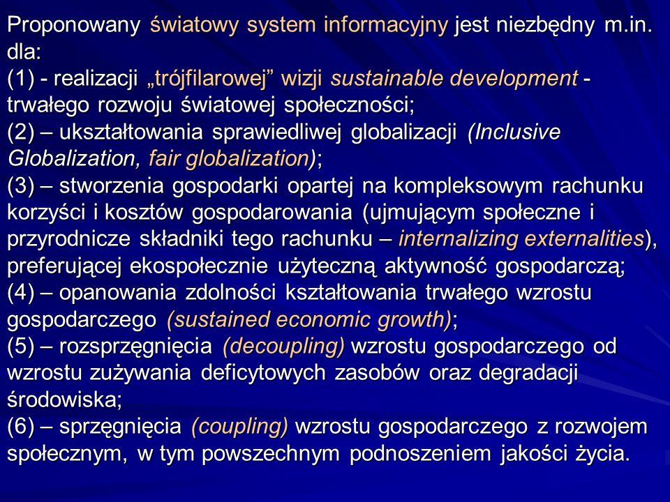 Proponowany światowy system informacyjny jest niezbędny m.in. dla: (1) - realizacji trójfilarowej wizji sustainable development - trwałego rozwoju świ