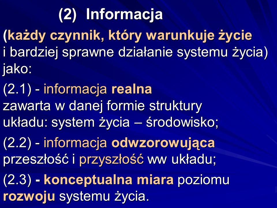 (2)Informacja (każdy czynnik, który warunkuje życie i bardziej sprawne działanie systemu życia) jako: (2.1) - informacja realna zawarta w danej formie
