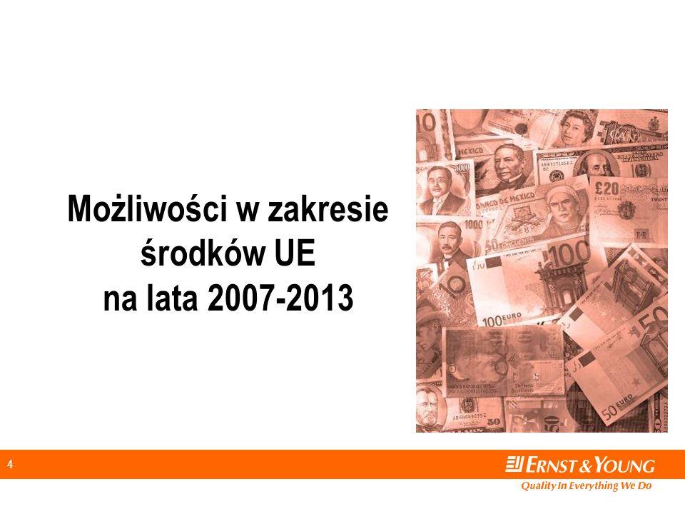 25 O czym należy pamiętać Strukturyzacja projektu Przygotowanie niezbędnej dokumentacji Fachowe doradztwo Projekcje finansowe – analiza wpływu inwestycji na wyniki podmiotu realizującego projekt Zarządzanie projektem współfinansowanym ze środków UE Przygotowanie wewnętrznych procedur wdrażania Szkolenia personelu zaangażowanego Audyty i ewaluacje projektów Możliwości 2007-2013 Zawartość programów Wybrane doświadczenia Propozycje E&Y