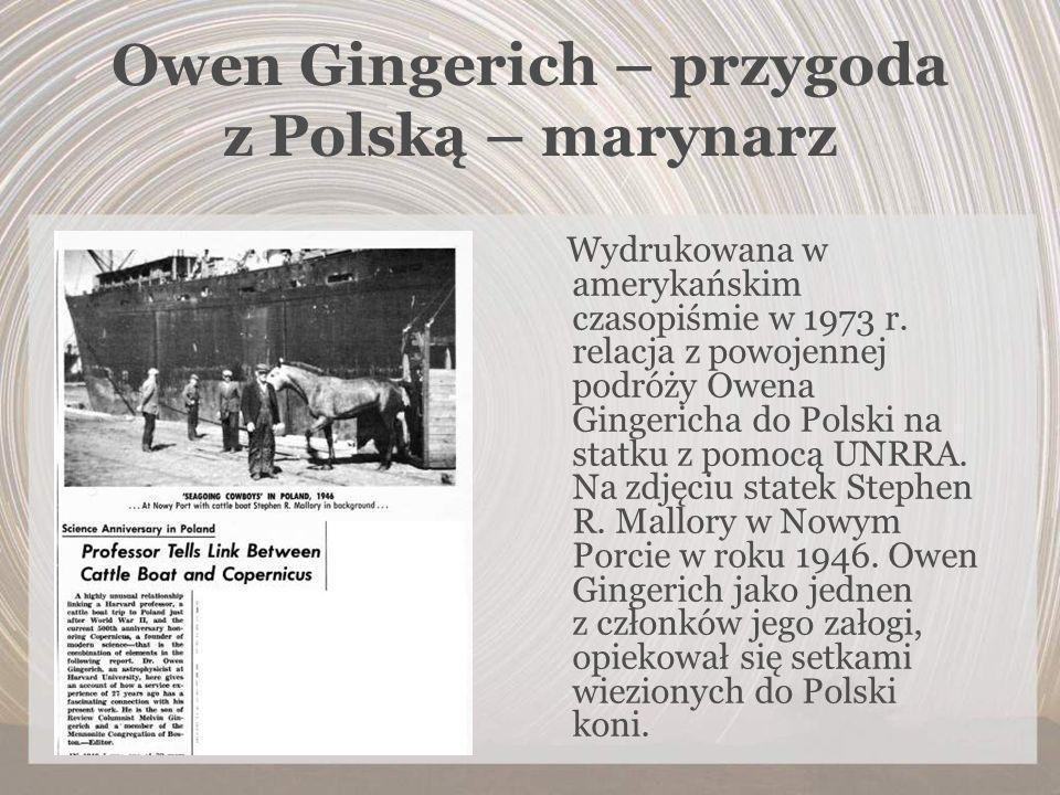 Owen Gingerich – przygoda z Polską – marynarz Wydrukowana w amerykańskim czasopiśmie w 1973 r. relacja z powojennej podróży Owena Gingericha do Polski