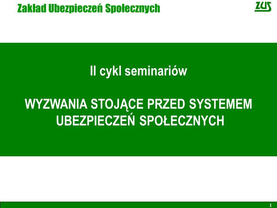 Zakład Ubezpieczeń Społecznych II cykl seminariów WYZWANIA STOJĄCE PRZED SYSTEMEM UBEZPIECZEŃ SPOŁECZNYCH 1