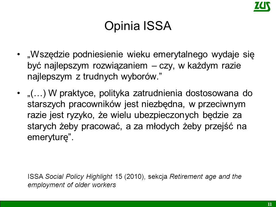 Opinia ISSA Wszędzie podniesienie wieku emerytalnego wydaje się być najlepszym rozwiązaniem – czy, w każdym razie najlepszym z trudnych wyborów. (…) W