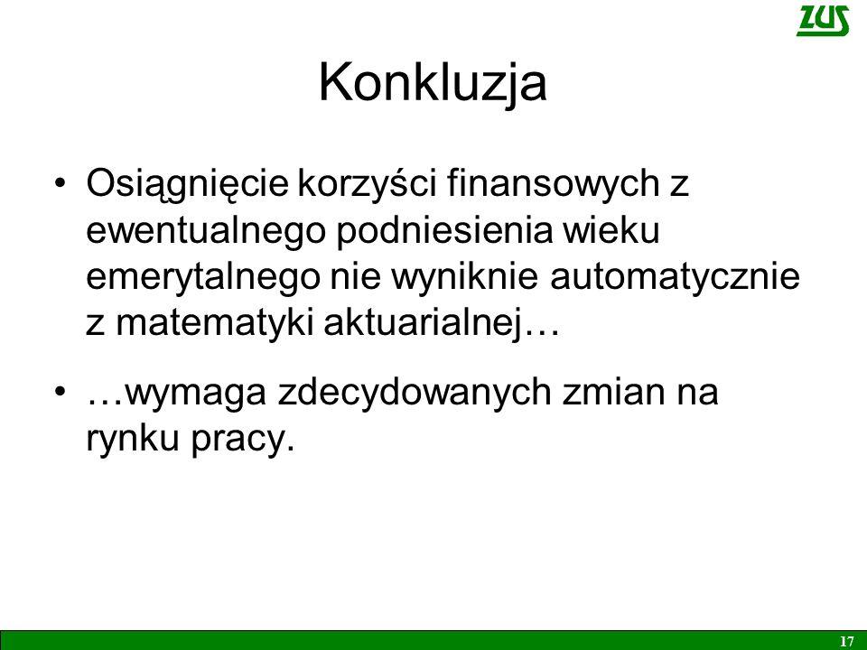 Konkluzja Osiągnięcie korzyści finansowych z ewentualnego podniesienia wieku emerytalnego nie wyniknie automatycznie z matematyki aktuarialnej… …wymag