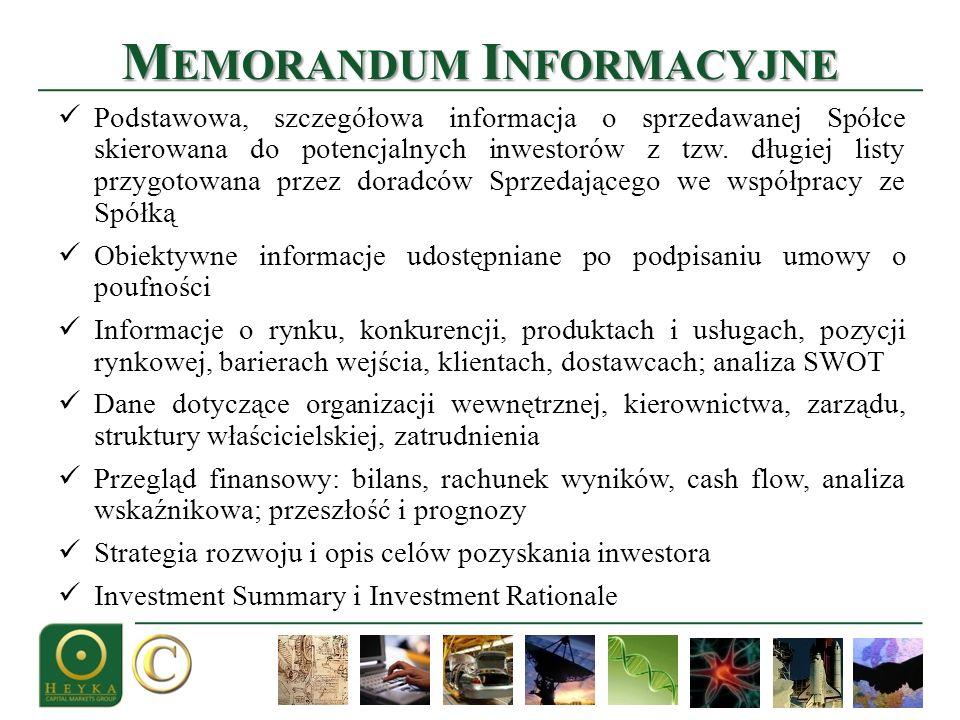 M EMORANDUM I NFORMACYJNE Podstawowa, szczegółowa informacja o sprzedawanej Spółce skierowana do potencjalnych inwestorów z tzw.