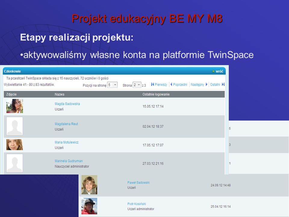 logowaliśmy się na własne konta Projekt edukacyjny BE MY M8