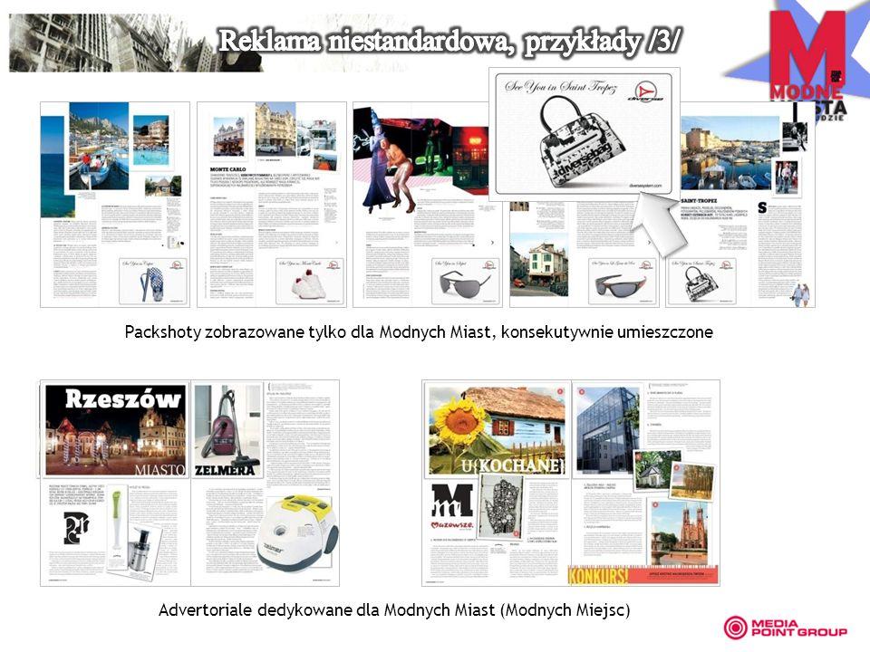 Packshoty zobrazowane tylko dla Modnych Miast, konsekutywnie umieszczone Advertoriale dedykowane dla Modnych Miast (Modnych Miejsc)
