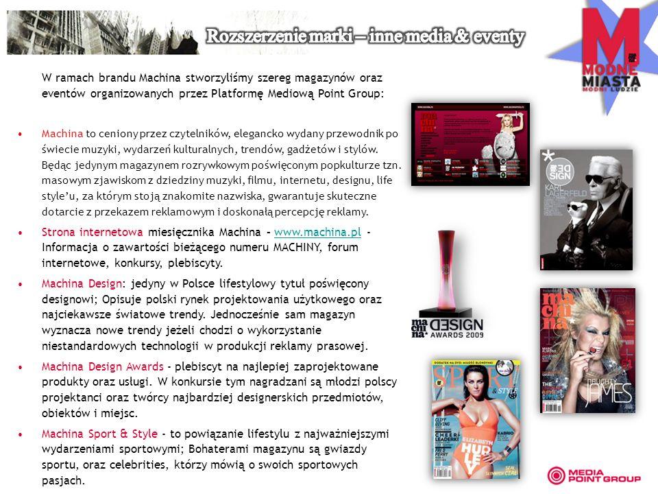 W ramach brandu Machina stworzyliśmy szereg magazynów oraz eventów organizowanych przez Platformę Mediową Point Group: Machina to ceniony przez czytelników, elegancko wydany przewodnik po świecie muzyki, wydarzeń kulturalnych, trendów, gadżetów i stylów.