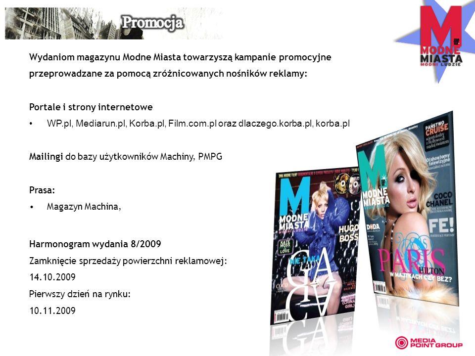 Wydaniom magazynu Modne Miasta towarzyszą kampanie promocyjne przeprowadzane za pomocą zróżnicowanych nośników reklamy: Portale i strony internetowe WP.pl, Mediarun.pl, Korba.pl, Film.com.pl oraz dlaczego.korba.pl, korba.pl Mailingi do bazy użytkowników Machiny, PMPG Prasa: Magazyn Machina, Harmonogram wydania 8/2009 Zamknięcie sprzedaży powierzchni reklamowej: 14.10.2009 Pierwszy dzień na rynku: 10.11.2009