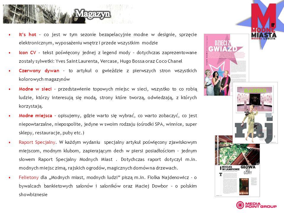 Its hot – co jest w tym sezonie bezapelacyjnie modne w designie, sprzęcie elektronicznym, wyposażeniu wnętrz i przede wszystkim modzie Icon CV – tekst poświęcony jednej z legend mody – dotychczas zaprezentowane zostały sylwetki: Yves Saint Laurenta, Vercase, Hugo Bossa oraz Coco Chanel Czerwony dywan – to artykuł o gwieździe z pierwszych stron wszystkich kolorowych magazynów Modne w sieci – przedstawienie topowych miejsc w sieci, wszystko to co robią ludzie, którzy interesują się modą, strony które tworzą, odwiedzają, z których korzystają.