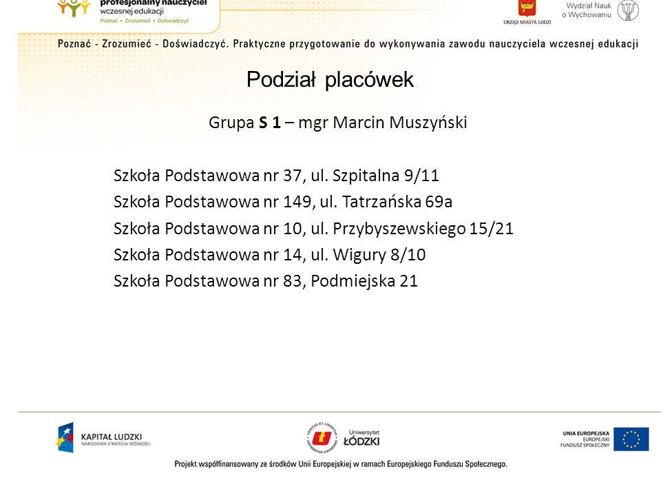 Podział placówek Grupa S 2 – mgr Jarosław Pawlicki Szkoła Podstawowa nr 162, ul.