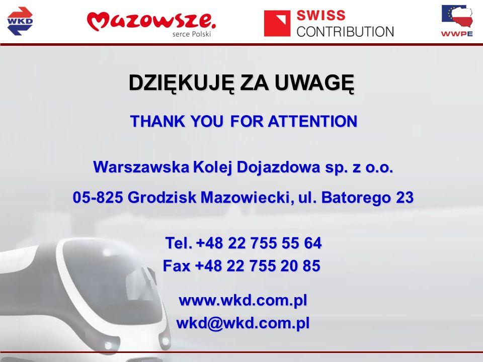 DZIĘKUJĘ ZA UWAGĘ Warszawska Kolej Dojazdowa sp. z o.o.