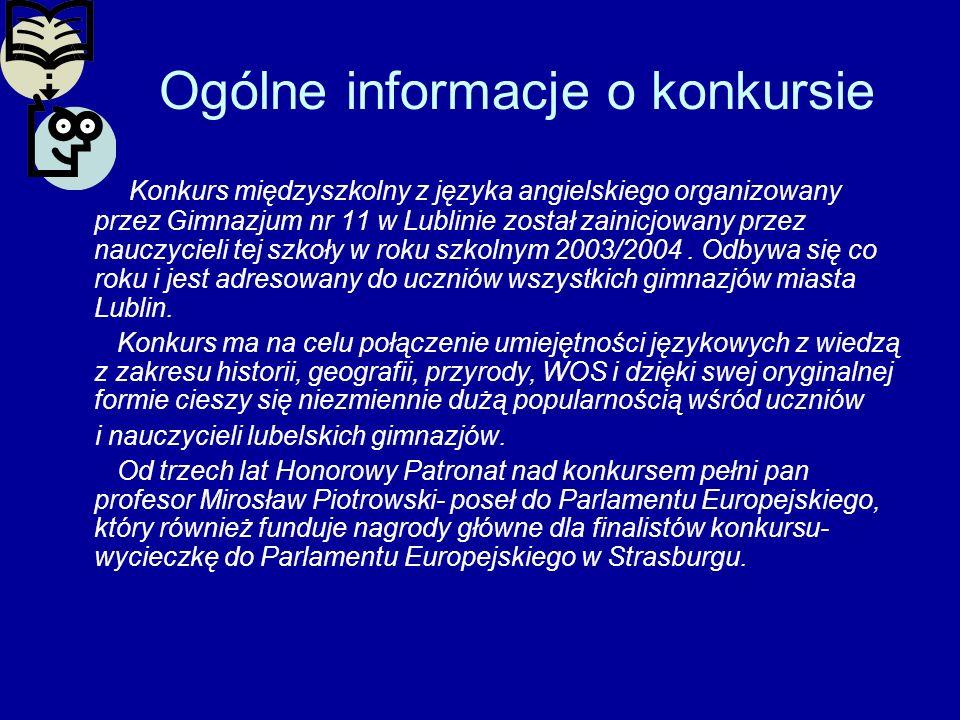 Ogólne informacje o konkursie Konkurs międzyszkolny z języka angielskiego organizowany przez Gimnazjum nr 11 w Lublinie został zainicjowany przez nauc