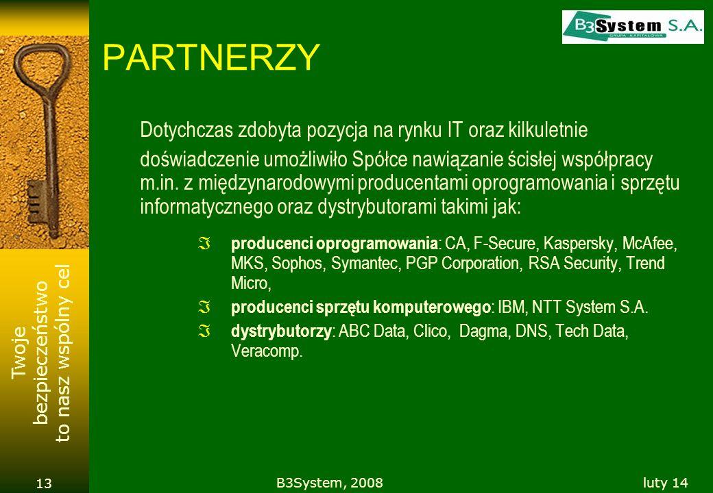Twoje bezpieczeństwo to nasz wspólny cel luty 14B3System, 2008 13 PARTNERZY Dotychczas zdobyta pozycja na rynku IT oraz kilkuletnie doświadczenie umoż