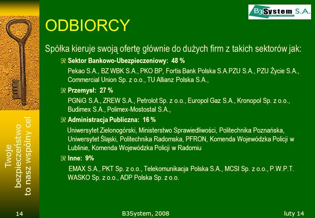 Twoje bezpieczeństwo to nasz wspólny cel luty 14B3System, 2008 14 ODBIORCY Spółka kieruje swoją ofertę głównie do dużych firm z takich sektorów jak: S
