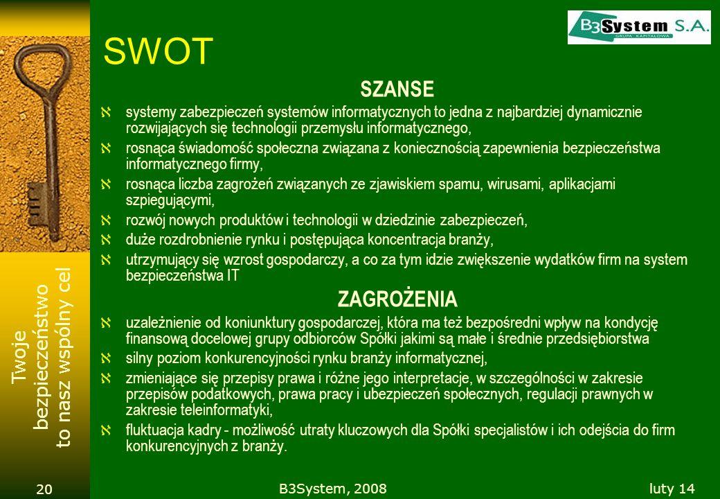 Twoje bezpieczeństwo to nasz wspólny cel luty 14B3System, 2008 20 SWOT SZANSE systemy zabezpieczeń systemów informatycznych to jedna z najbardziej dyn