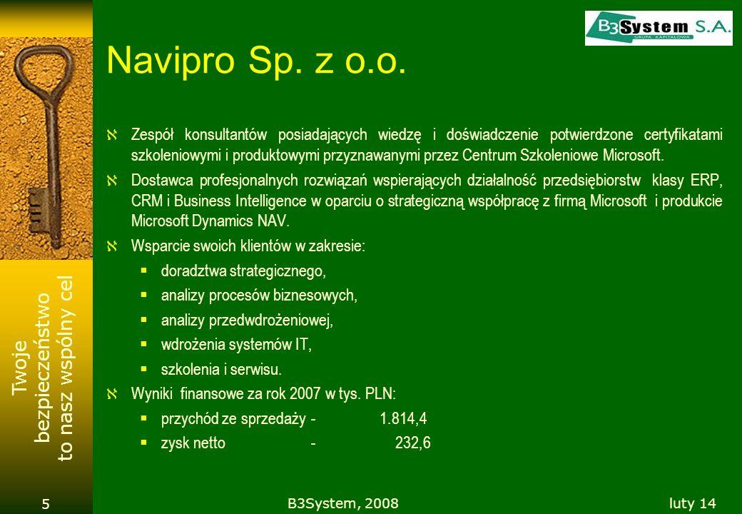 Twoje bezpieczeństwo to nasz wspólny cel luty 14B3System, 2008 16 DANE FINANSOWE ( w tys. PLN )