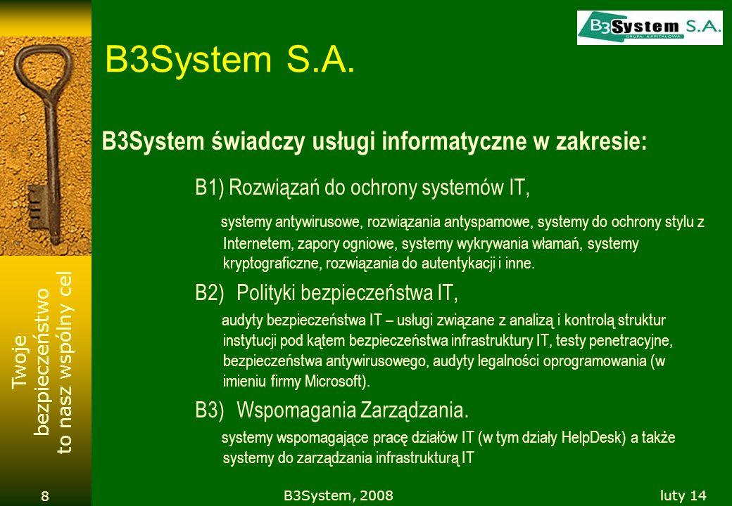 Twoje bezpieczeństwo to nasz wspólny cel luty 14B3System, 2008 8 B3System S.A. B3System świadczy usługi informatyczne w zakresie: B1) Rozwiązań do och