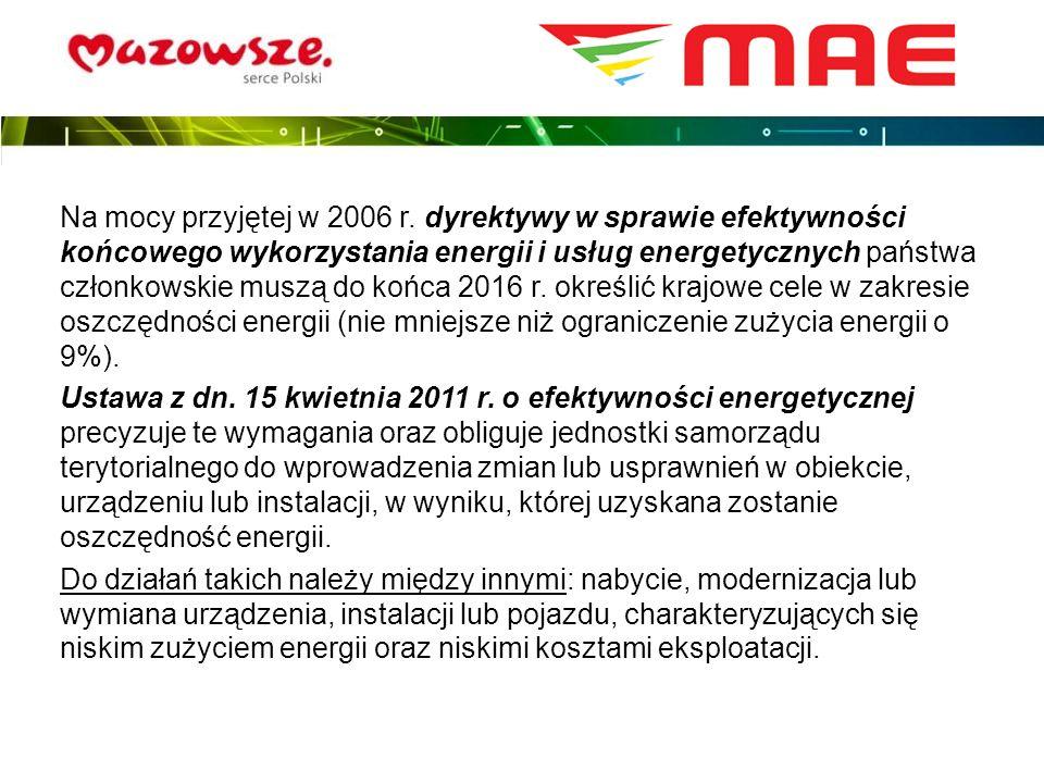 Na mocy przyjętej w 2006 r. dyrektywy w sprawie efektywności końcowego wykorzystania energii i usług energetycznych państwa członkowskie muszą do końc