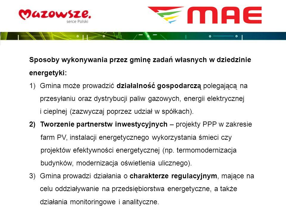 Sposoby wykonywania przez gminę zadań własnych w dziedzinie energetyki: 1)Gmina może prowadzić działalność gospodarczą polegającą na przesyłaniu oraz