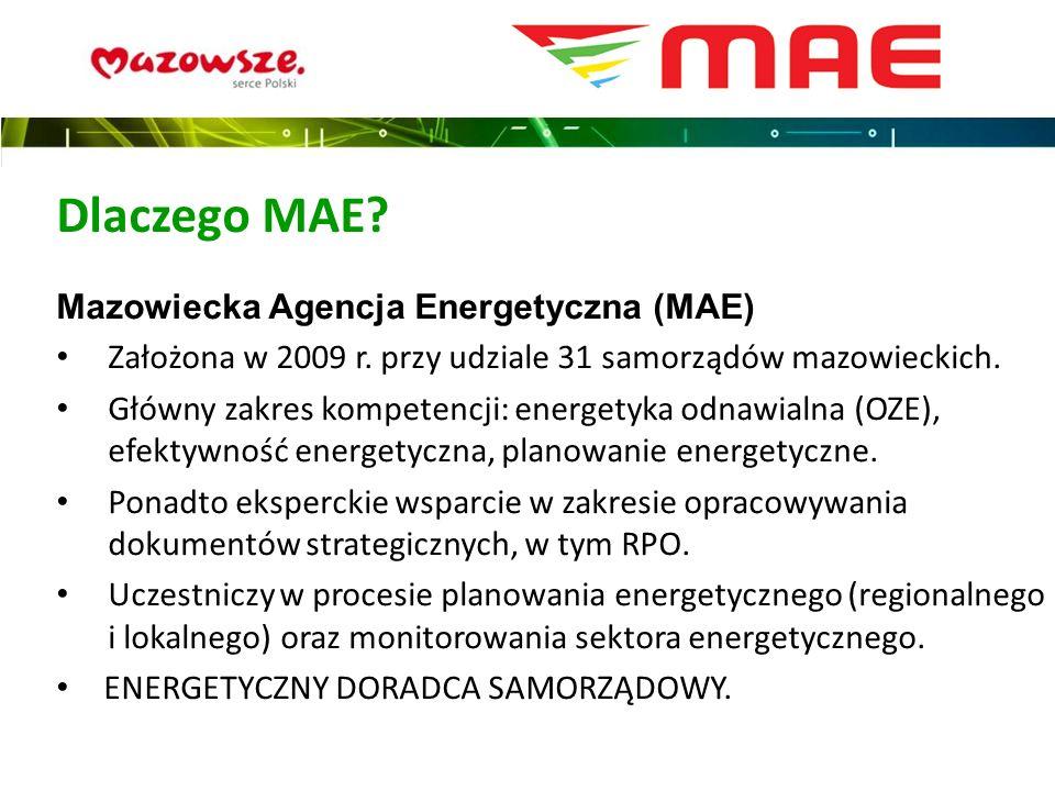 Mazowiecka Agencja Energetyczna (MAE) Założona w 2009 r. przy udziale 31 samorządów mazowieckich. Główny zakres kompetencji: energetyka odnawialna (OZ