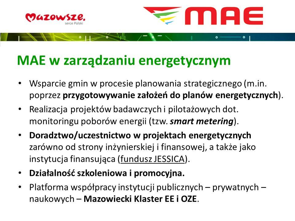 MAE w zarządzaniu energetycznym Wsparcie gmin w procesie planowania strategicznego (m.in. poprzez przygotowywanie założeń do planów energetycznych). R