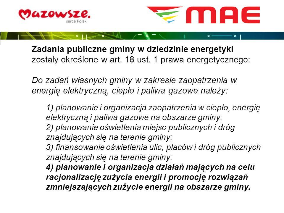 Zadania publiczne gminy w dziedzinie energetyki zostały określone w art. 18 ust. 1 prawa energetycznego: Do zadań własnych gminy w zakresie zaopatrzen