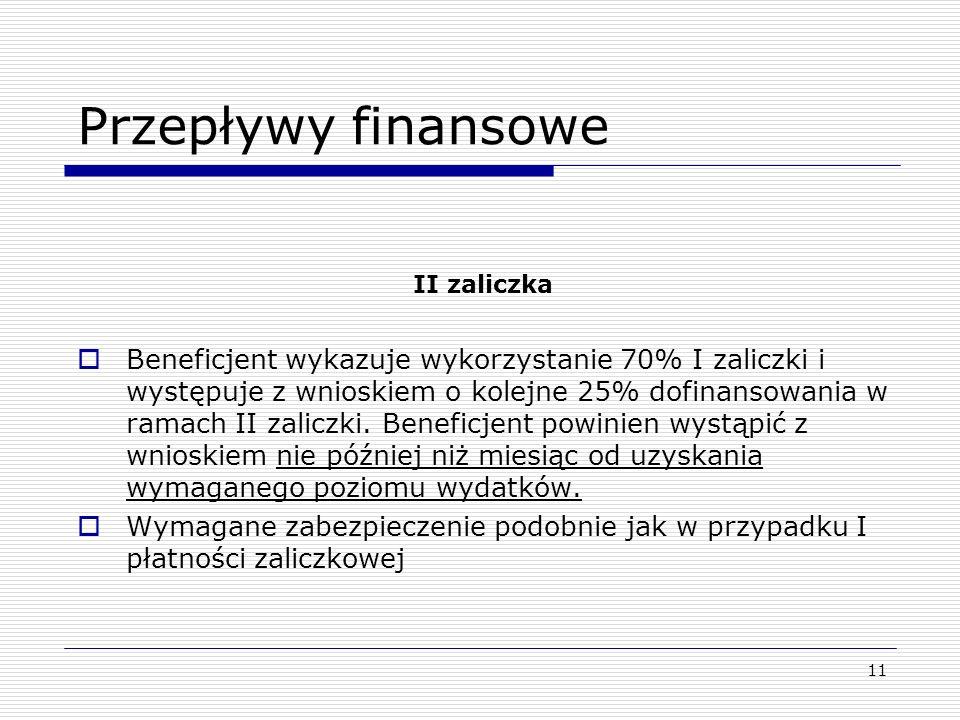 11 Przepływy finansowe II zaliczka Beneficjent wykazuje wykorzystanie 70% I zaliczki i występuje z wnioskiem o kolejne 25% dofinansowania w ramach II