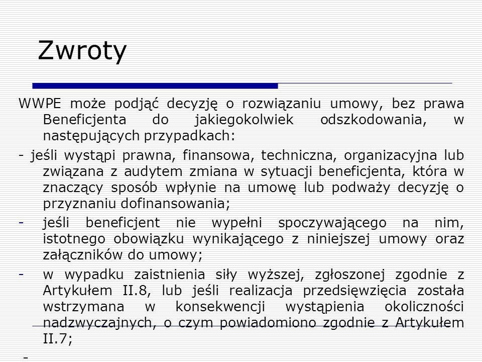 Zwroty WWPE może podjąć decyzję o rozwiązaniu umowy, bez prawa Beneficjenta do jakiegokolwiek odszkodowania, w następujących przypadkach: - jeśli wyst