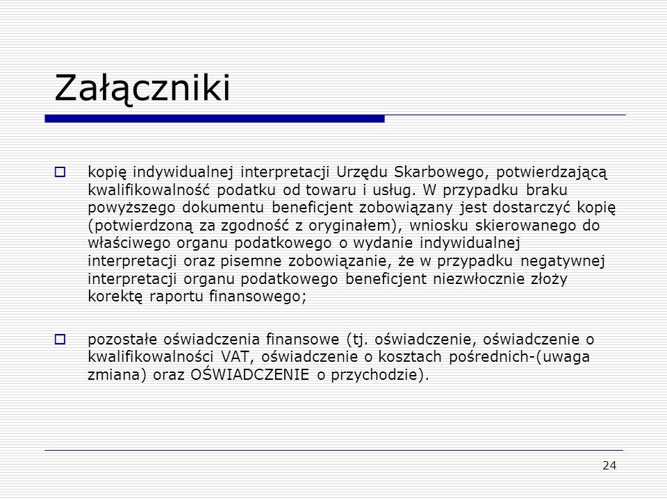 24 Załączniki kopię indywidualnej interpretacji Urzędu Skarbowego, potwierdzającą kwalifikowalność podatku od towaru i usług. W przypadku braku powyżs