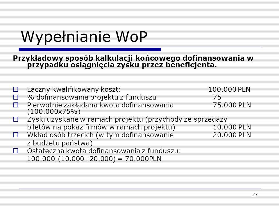28 Kompletowanie dokumentów rozliczeniowych Dokumenty dostarczane do WWPE powinny zostać ułożone chronologicznie, zgodnie z numerami nadanymi dokumentom w zestawieniu wydatków (L.p).