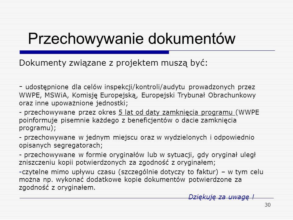 30 Przechowywanie dokumentów Dokumenty związane z projektem muszą być: - udostępnione dla celów inspekcji/kontroli/audytu prowadzonych przez WWPE, MSW