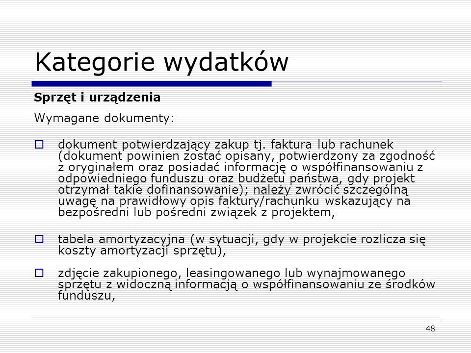Kategorie wydatków Sprzęt i urządzenia Wymagane dokumenty: dokument potwierdzający zakup tj. faktura lub rachunek (dokument powinien zostać opisany, p