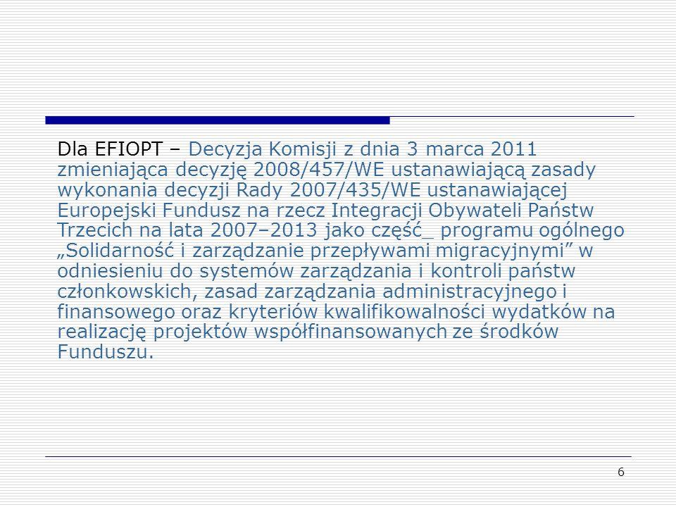 6 Dla EFIOPT – Decyzja Komisji z dnia 3 marca 2011 zmieniająca decyzję 2008/457/WE ustanawiającą zasady wykonania decyzji Rady 2007/435/WE ustanawiają