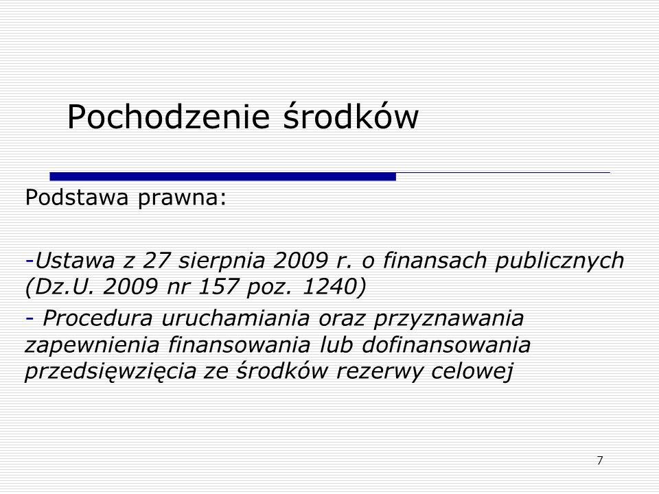Pochodzenie środków Podstawa prawna: -Ustawa z 27 sierpnia 2009 r. o finansach publicznych (Dz.U. 2009 nr 157 poz. 1240) - Procedura uruchamiania oraz