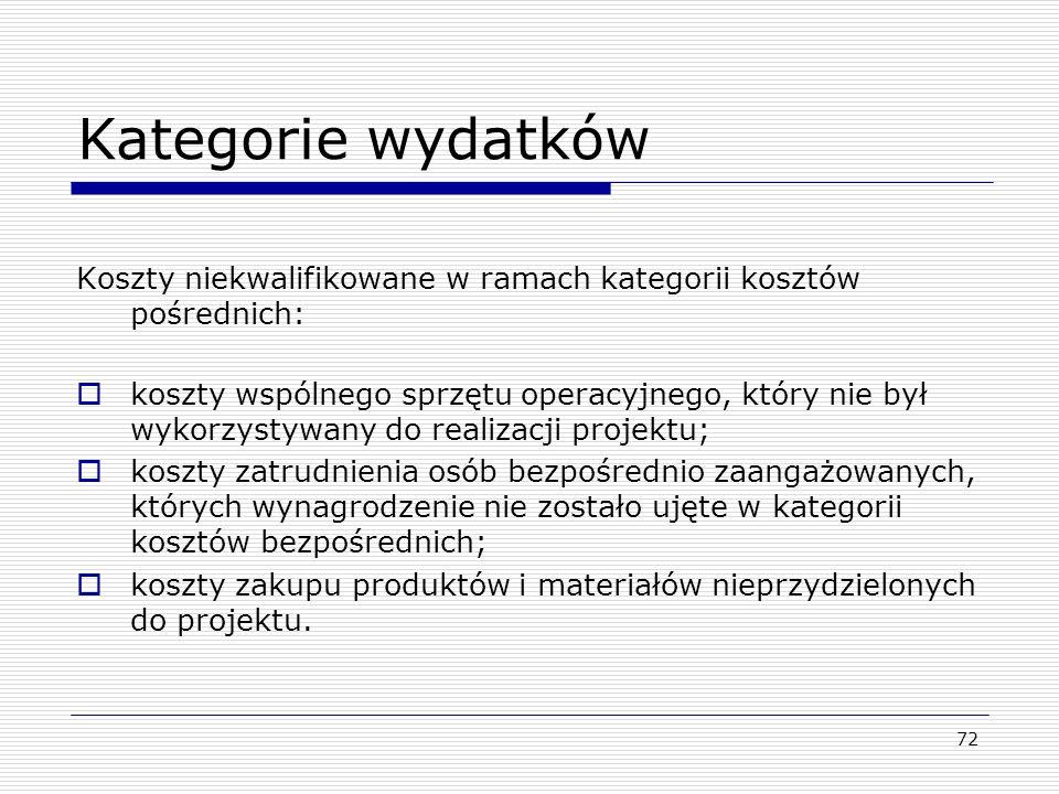 Kategorie wydatków Koszty niekwalifikowane w ramach kategorii kosztów pośrednich: koszty wspólnego sprzętu operacyjnego, który nie był wykorzystywany
