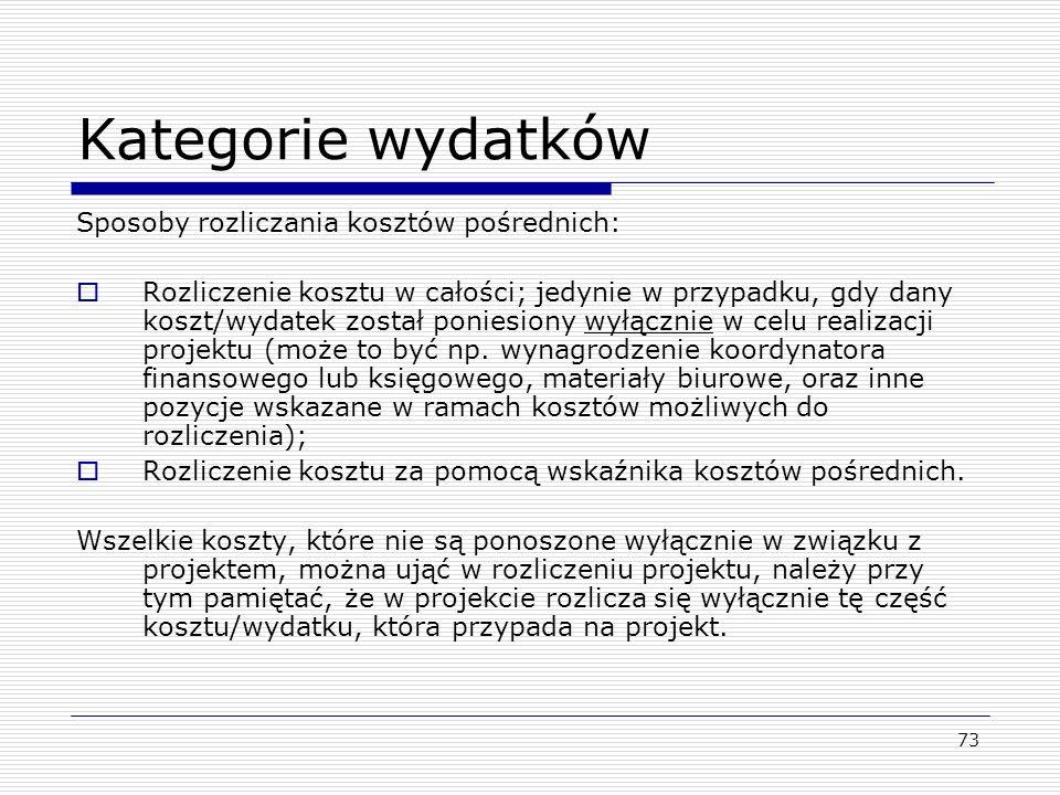 Kategorie wydatków Sposoby rozliczania kosztów pośrednich: Rozliczenie kosztu w całości; jedynie w przypadku, gdy dany koszt/wydatek został poniesiony