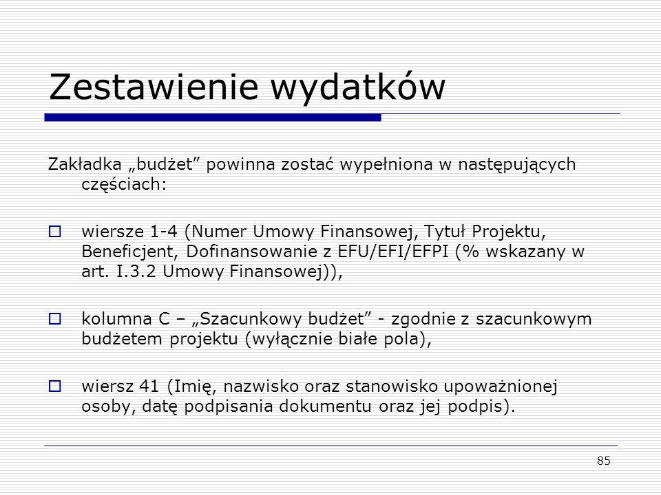 Zestawienie wydatków Zakładka budżet powinna zostać wypełniona w następujących częściach: wiersze 1-4 (Numer Umowy Finansowej, Tytuł Projektu, Benefic