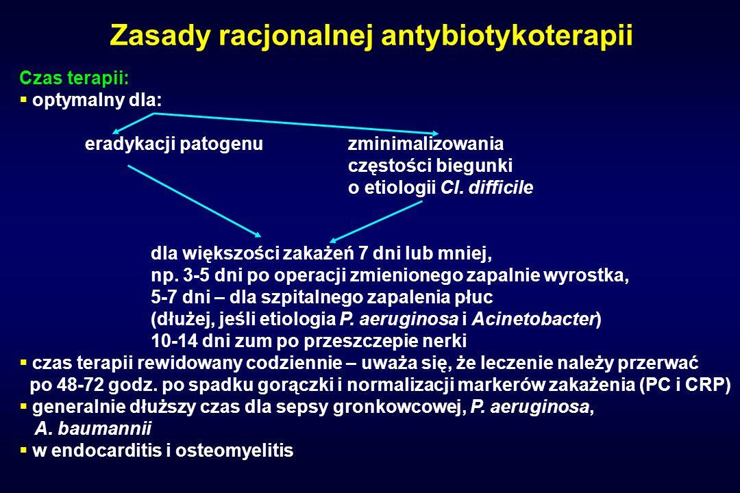 Zasady racjonalnej antybiotykoterapii Czas terapii: optymalny dla: eradykacji patogenuzminimalizowania częstości biegunki o etiologii Cl. difficile dl
