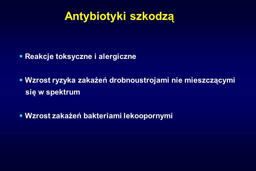Zasady racjonalnej antybiotykoterapii Czas terapii: optymalny dla: eradykacji patogenuzminimalizowania częstości biegunki o etiologii Cl.