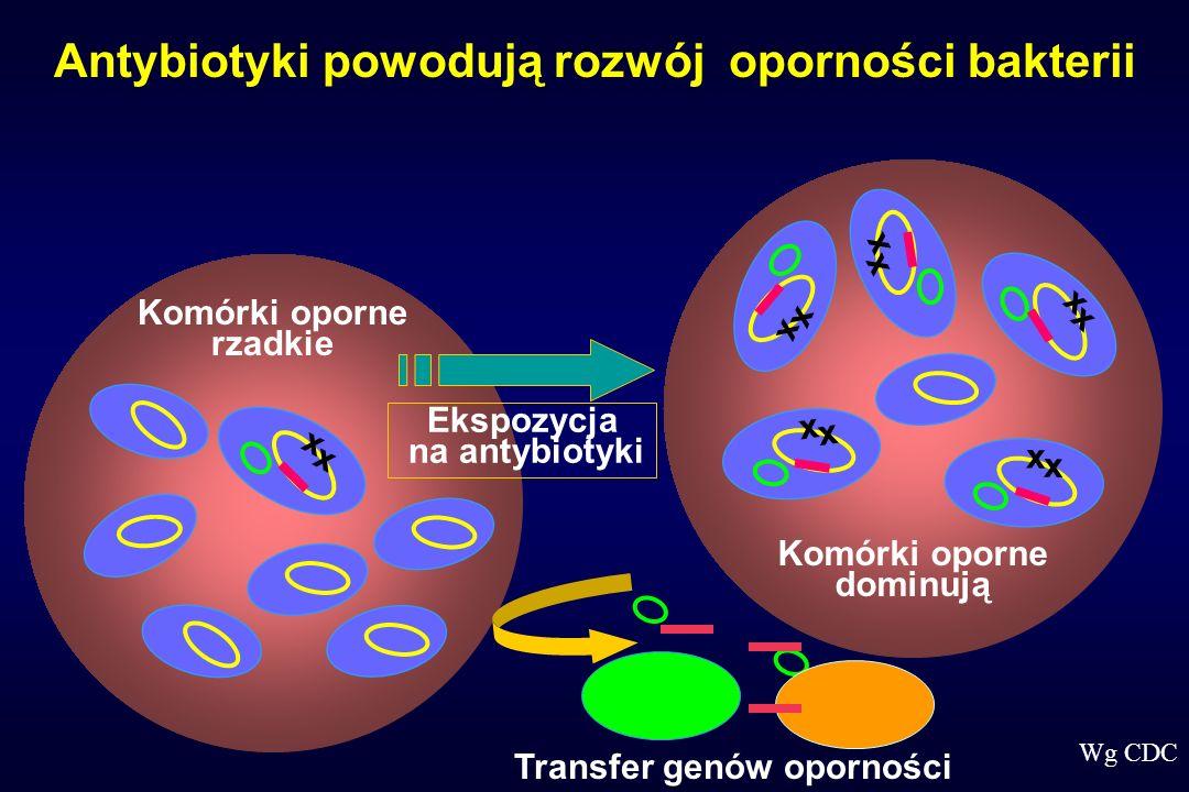 Komórki oporne rzadkie x x Komórki oporne dominują Ekspozycja na antybiotyki x x x x x x x x x x Antybiotyki powodują rozwój oporności bakterii Transf
