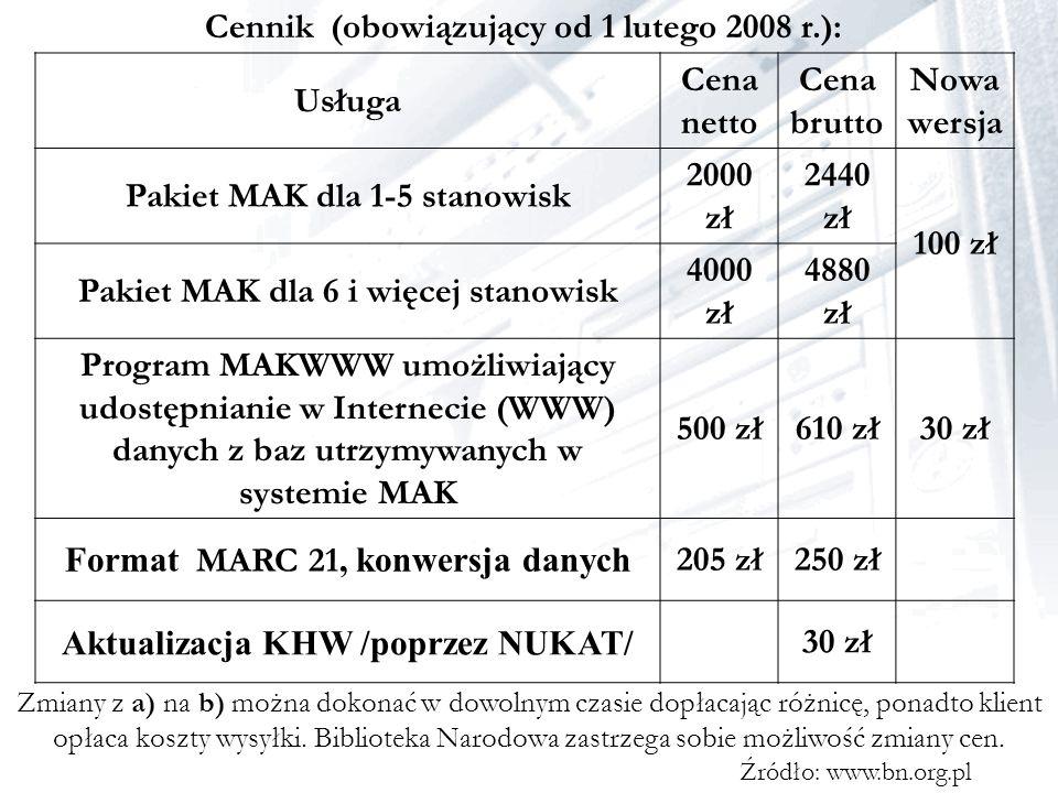 Cennik (obowiązujący od 1 lutego 2008 r.): Zmiany z a) na b) można dokonać w dowolnym czasie dopłacając różnicę, ponadto klient opłaca koszty wysyłki.