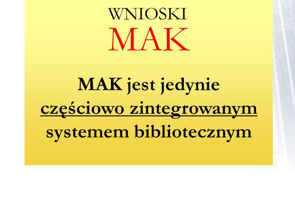 MAK MAK jest jedynie częściowo zintegrowanym systemem bibliotecznym WNIOSKI