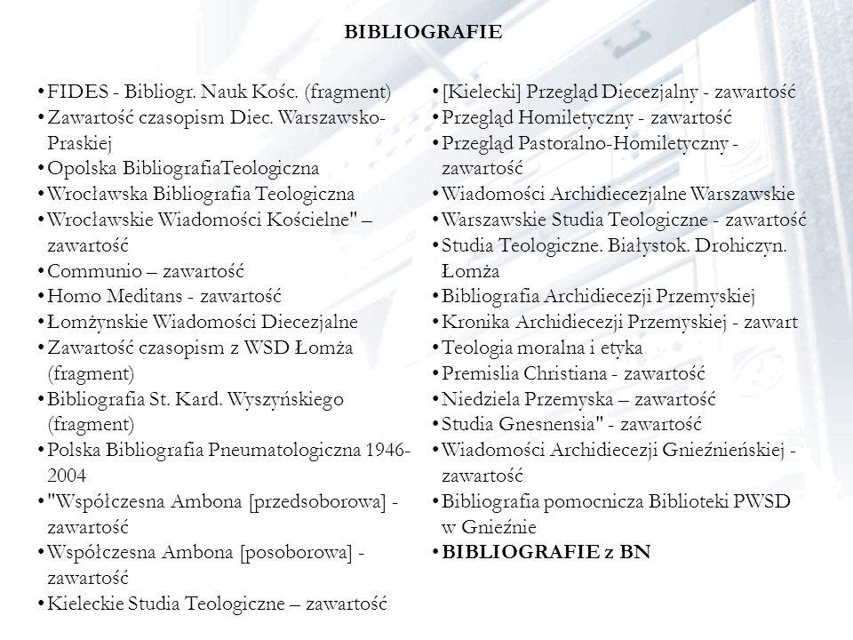 BIBLIOGRAFIE FIDES - Bibliogr. Nauk Kośc. (fragment) Zawartość czasopism Diec. Warszawsko- Praskiej Opolska BibliografiaTeologiczna Wrocławska Bibliog